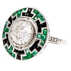 Onyx Mosaic Emerald Diamond Platinum Engagement Ring