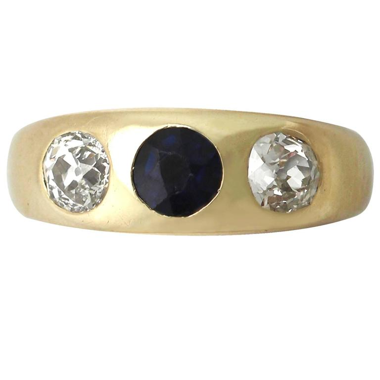 Antique 1890s Blue Sapphire and Diamond Yellow Gold Ring