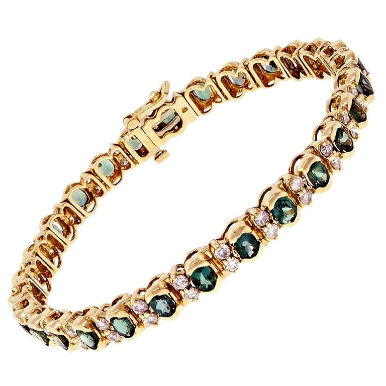 Natural Alexandrite Diamond Gold Hinged Bracelet At 1stdibs