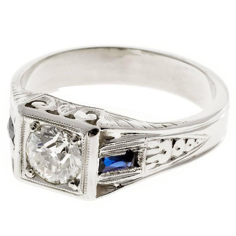 1930 Sapphire Diamond Gold Engraved Ring