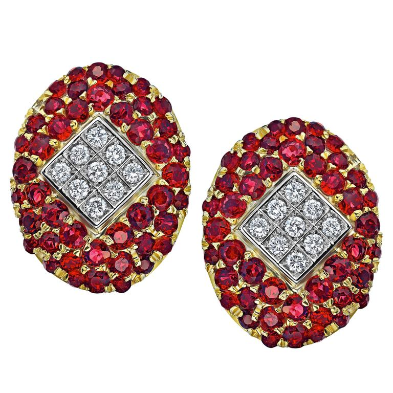 Burmese Ruby Diamond Gold Fancy Earrings 1