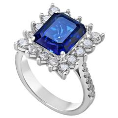 6.88 Carat Sapphire Diamond Gold Ring