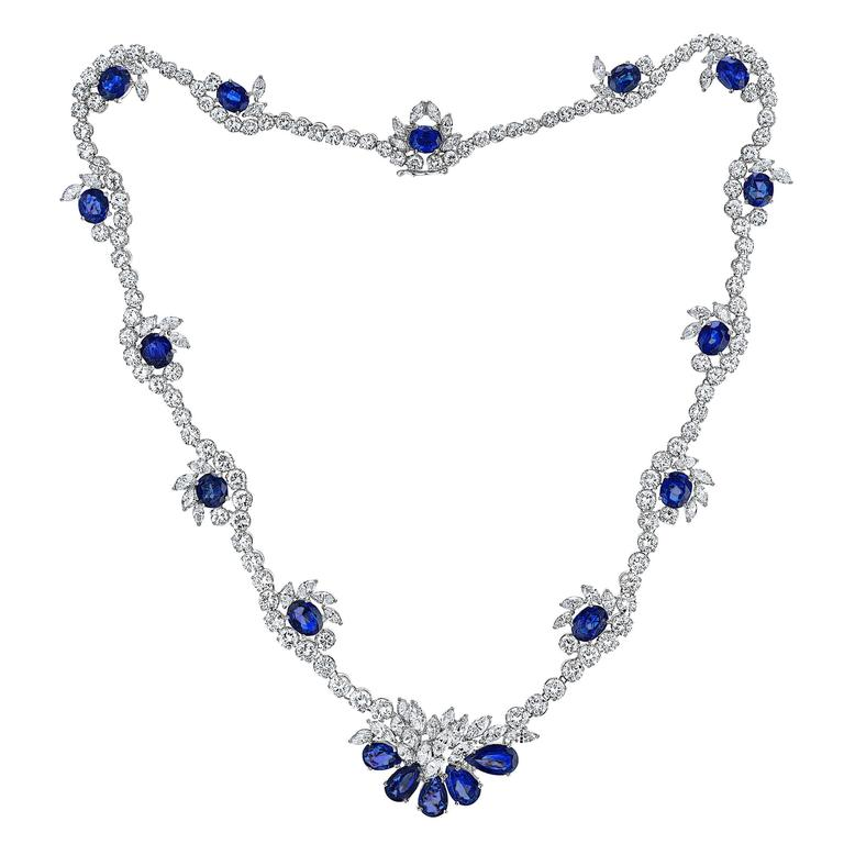 Sapphire Diamond Gold Platinum Necklace