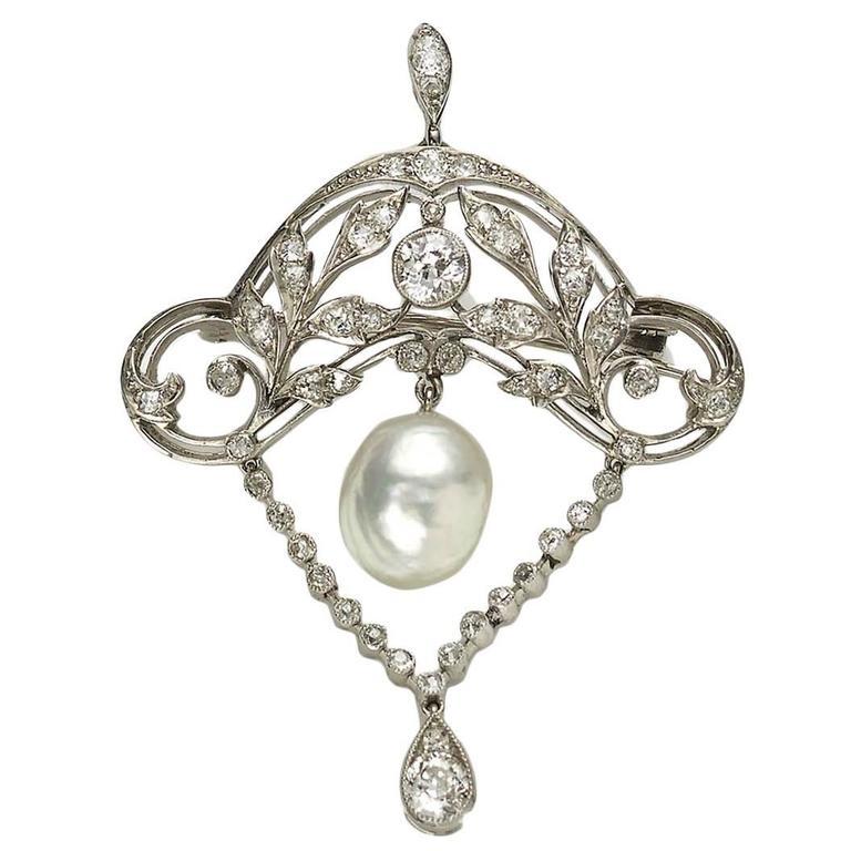Edwardian Pearl Diamond Platinum Brooch Pendant 1