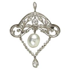 Edwardian Pearl Diamond Platinum Brooch Pendant