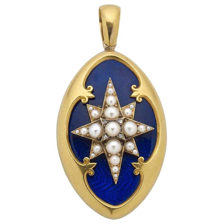 Victorian Blue Enamel Pearl Diamond Gold Locket