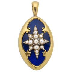 Victorian Blue Enamel Pearl Diamond Gold Locket