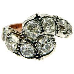 Outstanding 5.50 Carats Diamonds Silver Gold Ring