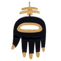 Aldo Cipullo Onyx Gold Hamsa Pendant