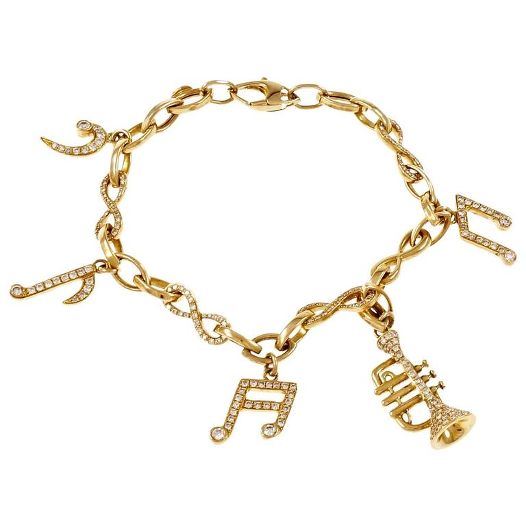 Diamond Gold Music Note Instrument Bracelet For Sale