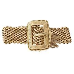 1900s Mesh Buckle Gold Bracelet