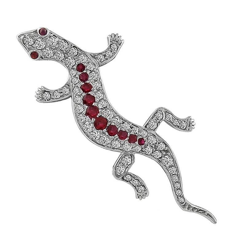 Diamond Ruby Gold Lizard Pin Brooch