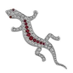 Diamond Ruby Gold Lizard Pin Brooch