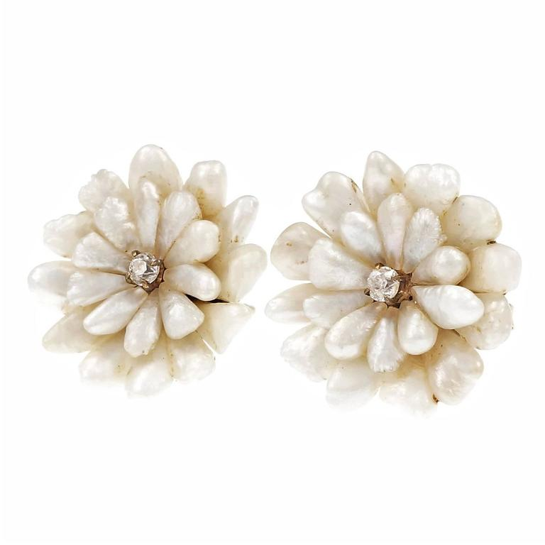 Natural Freshwater Pearl Diamond Gold Button Earrings