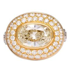 Bold Oval Diamond Gold Ring