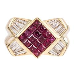 Contemporary Ruby Diamond Gold Ring