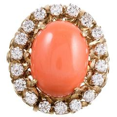 1960s Coral Cabochon Diamond Gold Cluster Ring