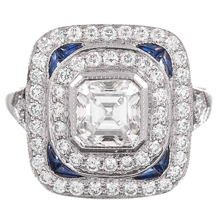Asscher Diamond Platinum Double Halo Ring with Sapphire Accents at 1stdibs