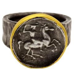 Riding Cowboy on a Horse Ring in Oxidized Sterling Silver and Gold