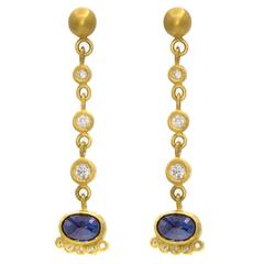 Blue Sapphire Diamond Gold Post Dangle Earrings