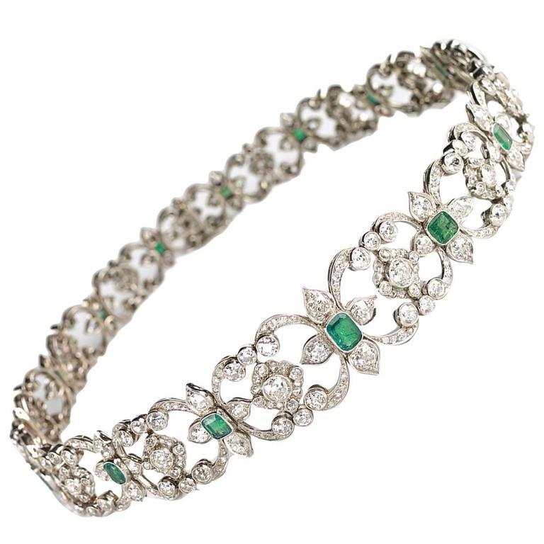 Edwardian Emerald Diamond Platinum Necklace Bracelet