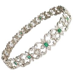 Edwardian Emerald Diamond Platinum Necklace Bracelet