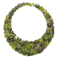 Tourmaline Peridot Diamond Gold Necklace