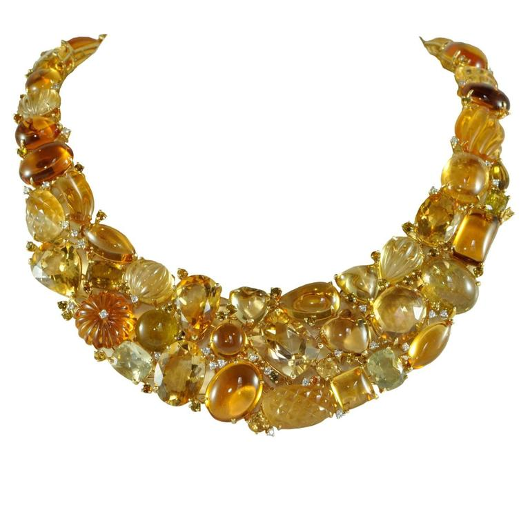 Citrine Tourmaline Diamond Gold Necklace