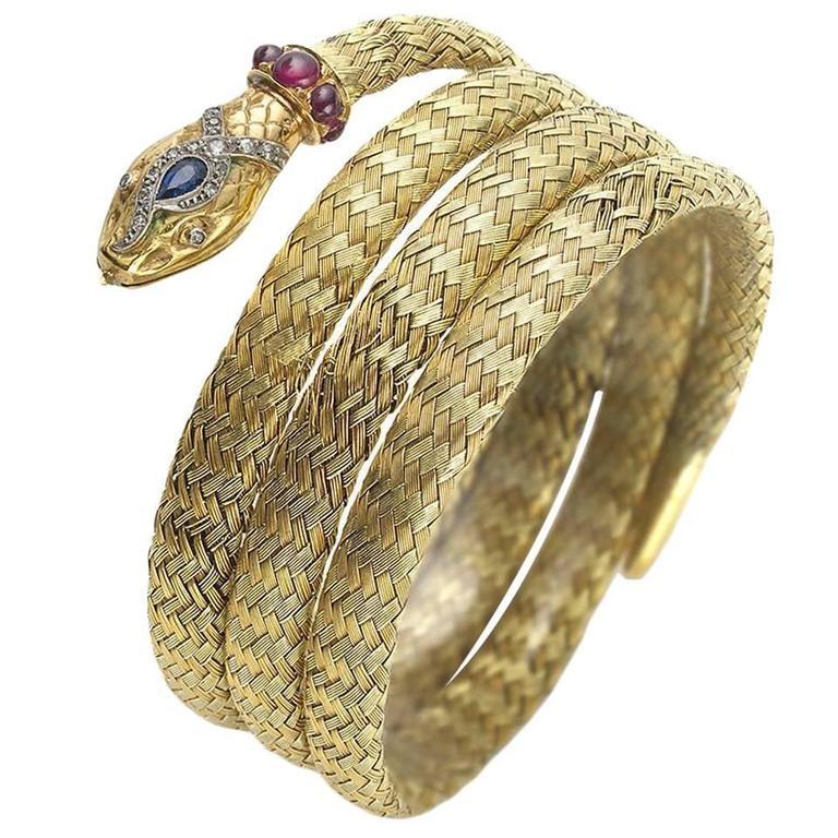 Gem Set Two Color Woven Gold Snake Bracelet For