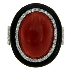 Sensational Oxblood Coral Diamond Gold Ring