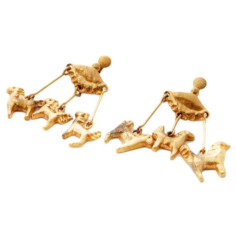 LG Treasures 1945 Line Vautrin Carousel Gilt Bronze Earrings