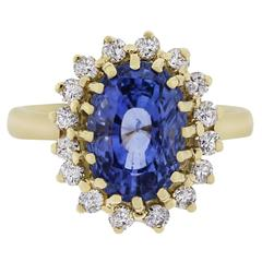 5.82 Carat GIA Cert Natural Unheated Ceylon Sapphire Gold Ring
