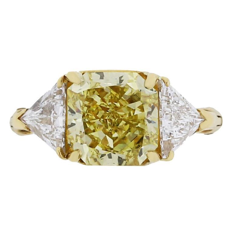 3.80 Carat Natural Fancy Yellow GIA Cert Diamond Gold Ring