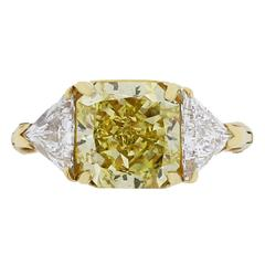 3.80 Carat Natural Fancy Yellow GIA Cert Diamond Gold Ring