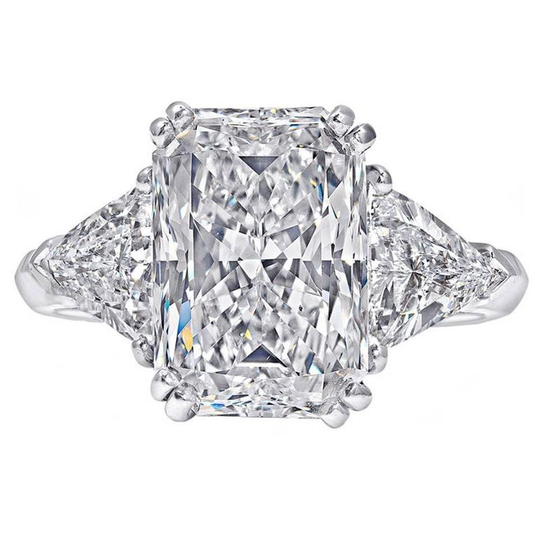 508 carat radiantcut three stone engagement ring for