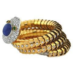 1950s A. Codognato 30 Carat Sapphire Emerald Diamond Gold Serpent Bracelet
