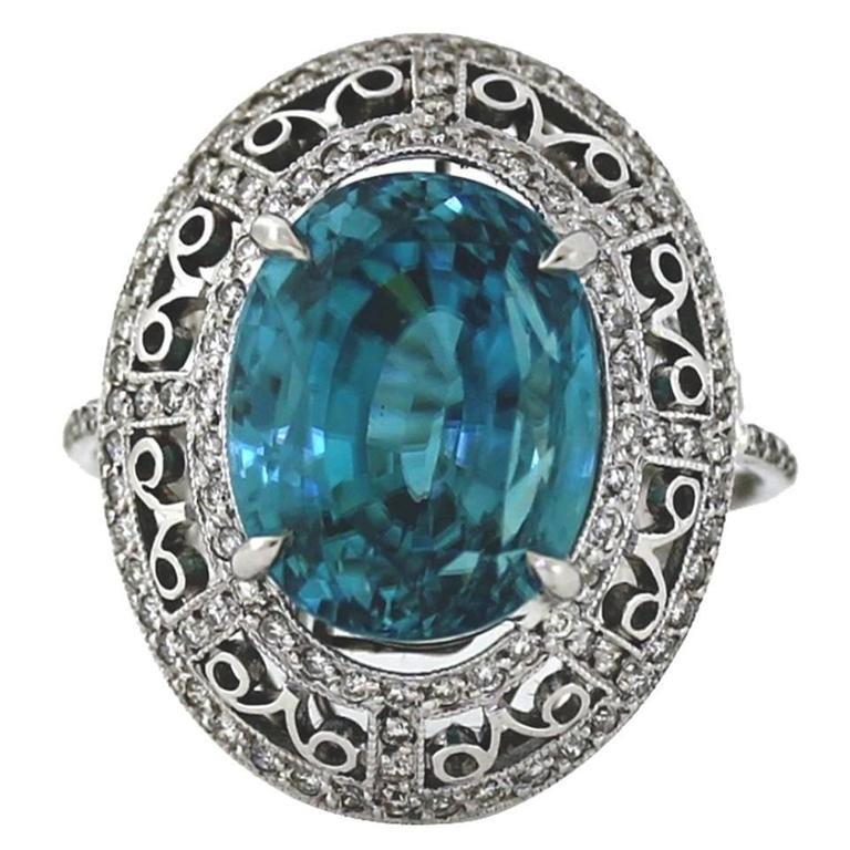 Huge 18 Carat Blue Zircon Diamond Platinum Engraved Ring