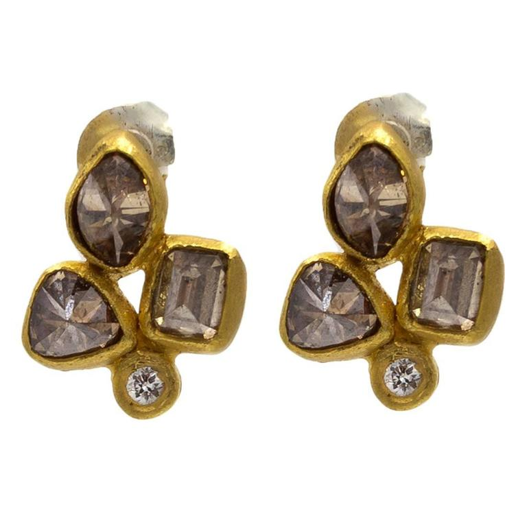 Chocolat Cognac Diamond Gold Stud Earrings in an Organic Fleur De Lys Design 1