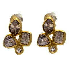 Chocolat Cognac Diamond Gold Stud Earrings in an Organic Fleur-de-Lys Design