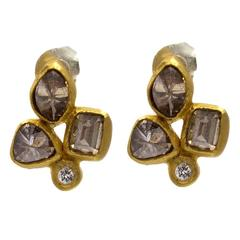 Chocolat Cognac Diamond Gold Stud Earrings in an Organic Fleur-de-Lys Design