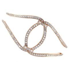Open Lace Round Diamond 18K Rose Gold Cuff Bangle Bracelet