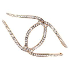 Open Lace Diamond Gold Cuff Bracelet