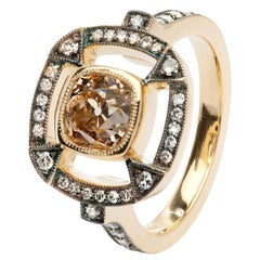1.51 Carat Orange Brown Cushion Cut Diamond Gold Halo Ring