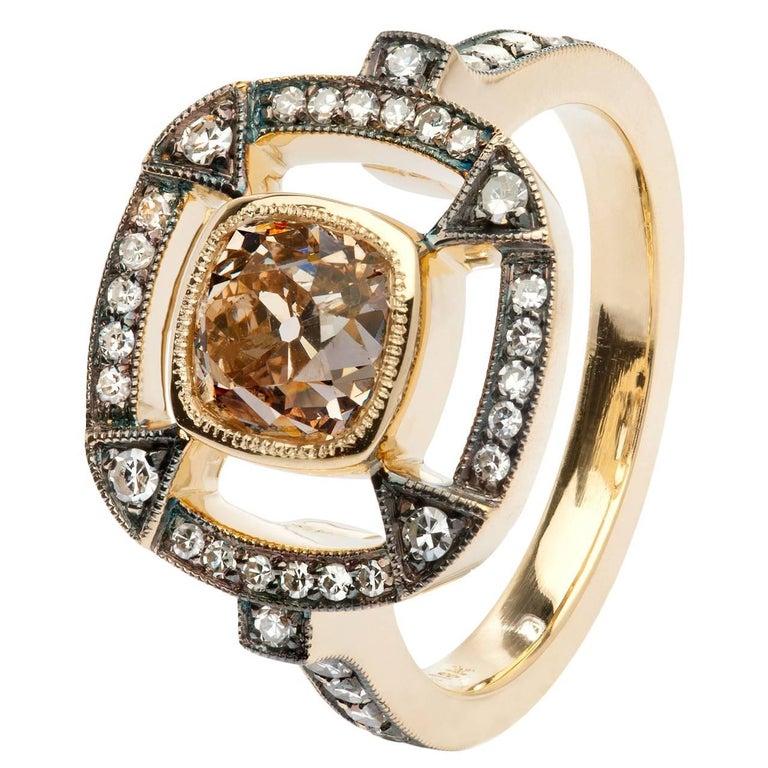 1.51 Carat Orange Brown Cushion Cut Diamond 18 Karat Gold Halo Ring For Sale