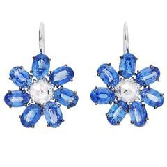Oval Pastel Blue Sapphire Diamond Gold Flower Shaped Earrings