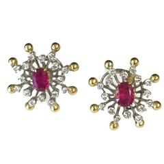 Burma Ruby Diamond Two-Color Gold High Style Earrings
