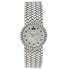 Piaget Ladies White Gold Diamond Emerald Bracelet Wristwatch