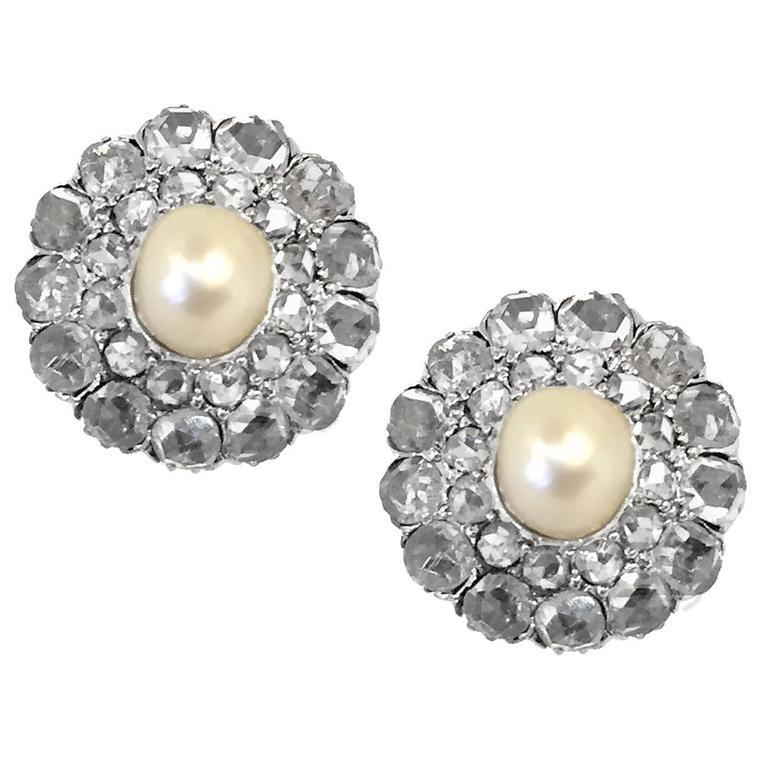 Victorian Natural Pearl 4 Carat Rose-Cut Diamond Cluster Earrings 1