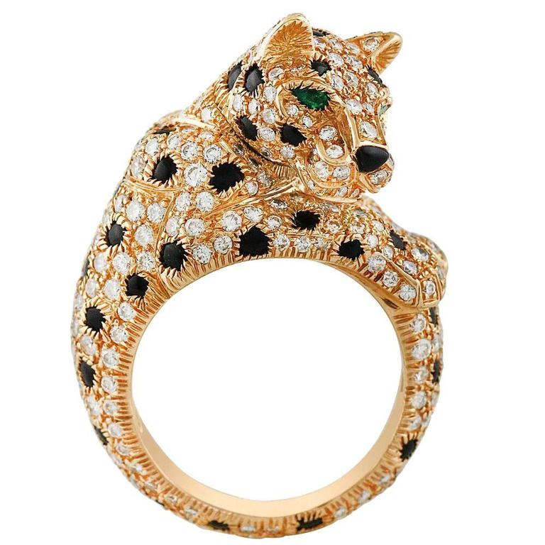 Cartier Onyx Emerald Diamond Gold Panthere Ring For Sale