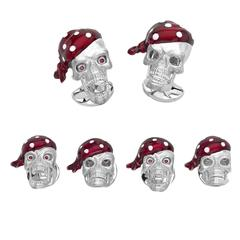 Deakin & Francis Sterling Silver Pirate Skull Dress Stud Set with Ruby Eyes